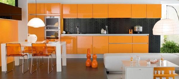 turuncu mutfak dolabları