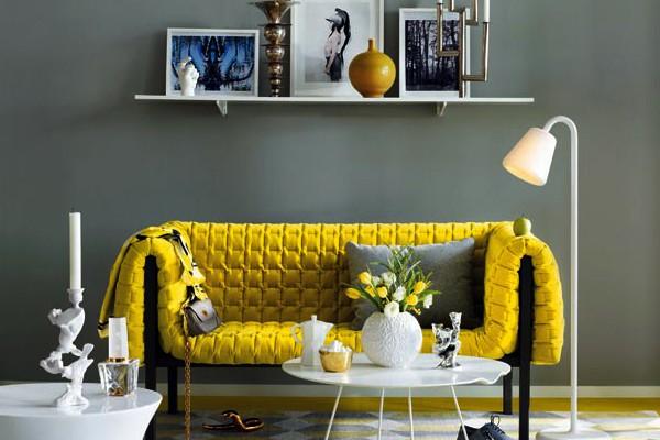gri sarı dekorasyon