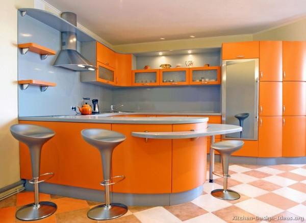 turuncu renkte örnek mutfak dolabları